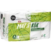 Hushållspapper Mat & kök 8-p Miljömärkt ICA
