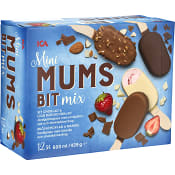 Glasspinne Mini mumsbit Jordgubb choklad & mandel 12-p 420g ICA