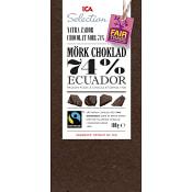 Mörk choklad Ecuador 74% 100g Fairtrade ICA Selection