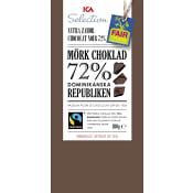 Mörk choklad 72% Dominikanska republiken 100g Fairtrade ICA Selection