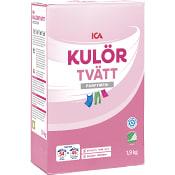 Tvättmedel Kulörtvätt Pulver Parfymfri  1,9kg Miljömärkt ICA