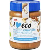 Jordnötsmör Crunchy med havssalt 350g KRAV ICA I love eco