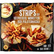 Strips Sötpotatis Morötter och Palsternacka 500g ICA