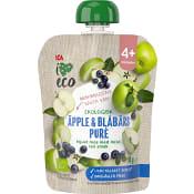 Mellanmål Barn Äpple & blåbärspuré 4+mån 90g ICA I love eco