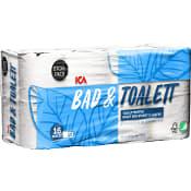 Bad & Toalettpapper 16-p Miljömärkt ICA