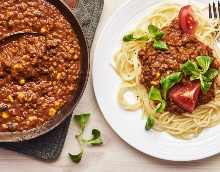 Receptbild med köttfärssås och spaghetti
